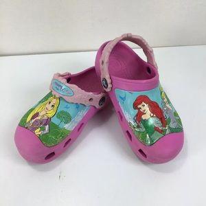 Girls Crocs Disney PRINCESS Clogs Pink Size 6 7 8 9 10 11 12 13 Ariel Cinderella
